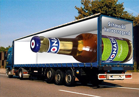 truck beer ad advert advertisement large bottle