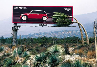 ad advertisement car fast tree billboard