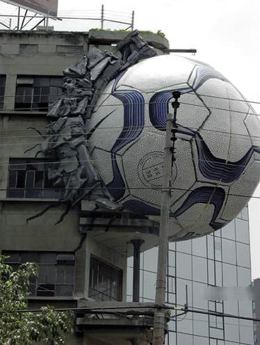 soccer ball in building advertisement