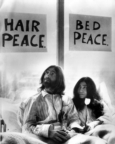 John Lennon and Yoko Ono bed the vote