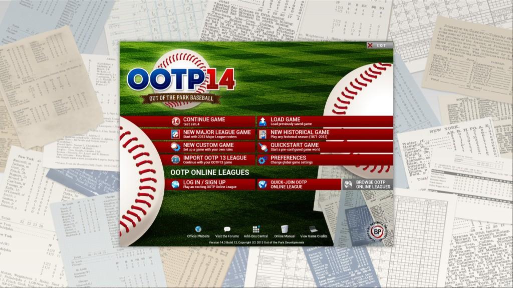 OOTP 14 startup screen